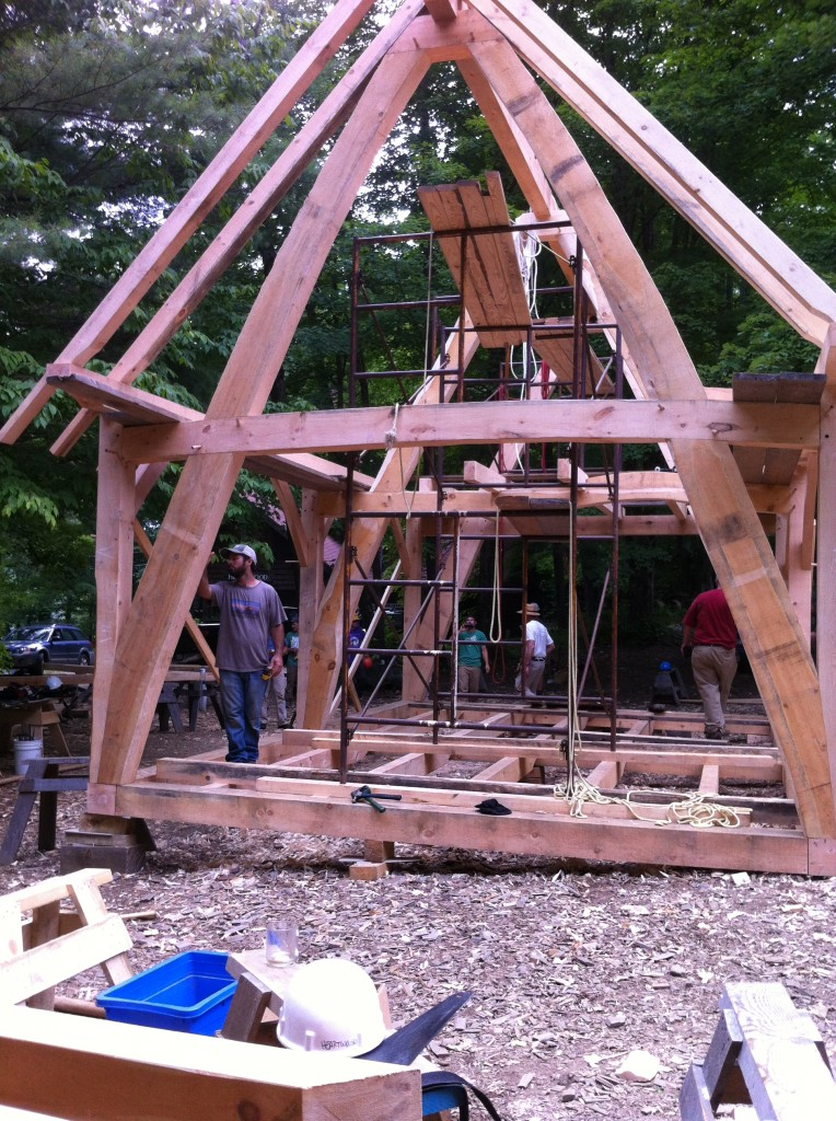 A cruck frame to be used as a private residence.